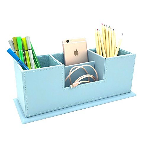UnionBasic Dual Pen Holder - 4 Compartment Desk Organizer Card/Pen/Pencil/Mobile Phone Office Supplies Holder Collection Desktop Organizer (Blue)