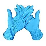 Guantes Desechable Nitrilo sin polvo, en Small, Medium, Large Caja 100 Unidades (M, Azul)