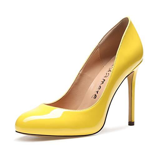 CASTAMERE Zapatos de Tacón Mujer Punta Redonda Tacón de Aguja 10 CM Tacón Charol Amarillo Zapatos EU 39.5