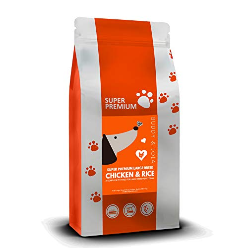 Buddy & Lola Natural Chicken & Rice Hypoallergenic Dog Food Protein, Great for Allergies, Wheat Free. Large Breed Complete Dry Dog Food - 12Kg