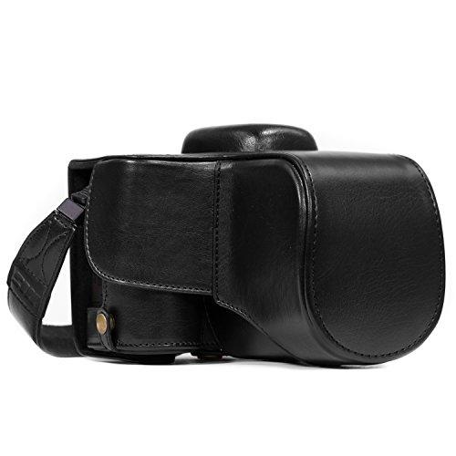 MegaGear Ever Ready Capa de couro para câmera compatível com Nikon D3400, Preto