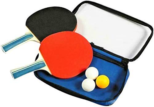 Set da ping pong - con pratica custodia da viaggio, 2 Racchette in gomma premium a doppia faccia + 3 palline da ping pong per Allenatori, Amatori, Principianti.