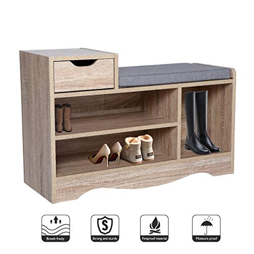 Banc de chaussures Range-chaussures avec coussin de siège moelleux amovible et tiroirs de rangement pour couloir et salon