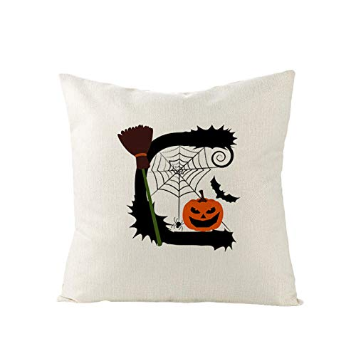 N/F Halloween Pillow Cover Fun Letter Cotton Linen Throw Pillow Case Home Room Decorative Cushion Cover Square 18 X 18 Inches