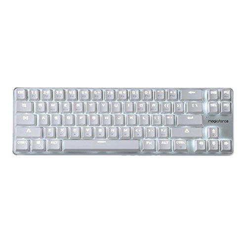 Qisan ゲームメカニカル式キーボード 有線 GATERON青軸 68キーバックライトモード付き 白いキーのキャップと銀色プレート
