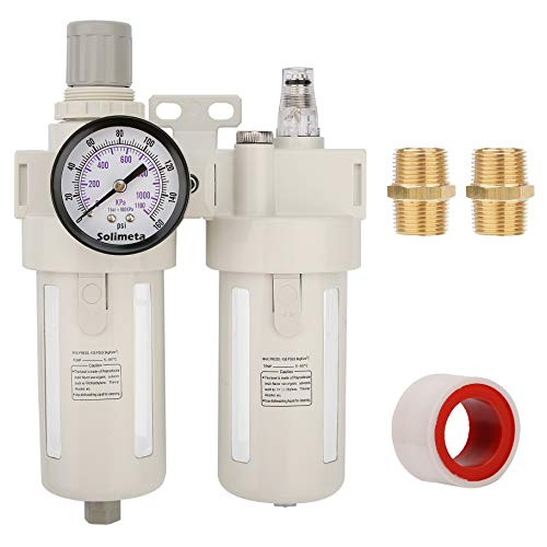 Solimeta Air Filter Regulator Lubricator Combo BFC4000 1/2' NPT, Air Dryer,Air Compressor Regulator, Air Dryer for Compressor, Air Compressor Regulator with Gauge, Regulator Filter