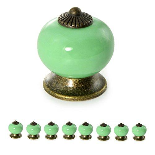 Ganzoo Meubelknoppen set van porselein/keramiek - Meubelgreep deurknop kastgreep kastknop meubelknop - knop & greep in vintage shabby landhuis antiek voor meubels lade kast by 8er SET groen
