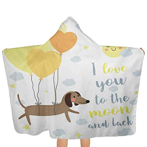 ThinkingPower Hooded Towel Cute Dog with Balloons and Hearts Sun Clouds Puppy Baby Best Friends Premium Cotton Absorbent Bathrobe Great Yellow Cocoa Blue Grey 51.5x31.8 Inch