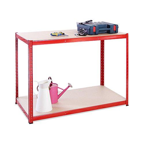 120cm Wide, 60cm deep, 90cm High, Red Garage Shed Racking Storage Workbench, 5 Year Warranty, 300KG Per Shelf Capacity