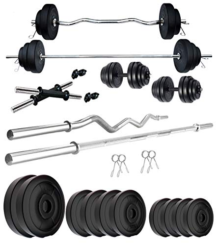 Kore PVC 50 Kg Home Gym Set With One 5 Ft Plain + One 3 Ft Curl Rod And One Pair Dumbbell Rods, Multicolour