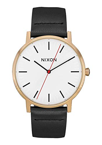 NIXON Porter Leather A1058 - Gunmetal/Burgundy/Brown - 50m Water Resistant Men's Analog...