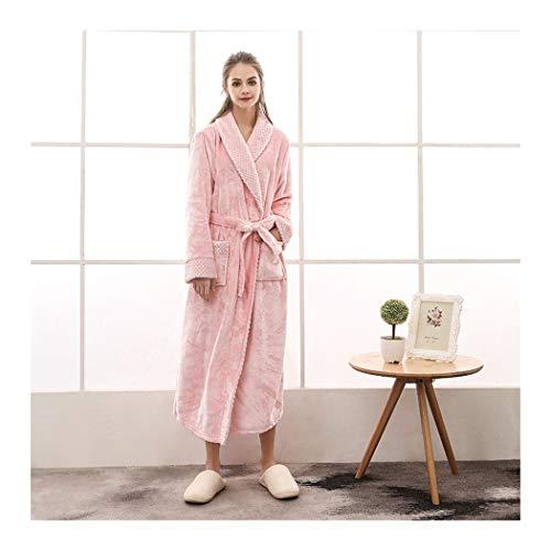 GAOHUI Weibliche Winter Home Casual Thermisch Gewirke Flanell Bademantel Rein Lange Ärmel Dicker Erweitert Schlafanzug, Rose, XL