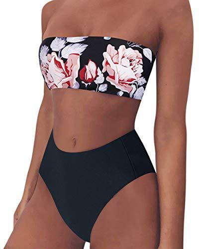 Rxcococo - Bikini da donna a vita alta, a fascia, con stampa leopardata, senza spalline, costume da bagno Nero Motivo floreale nero.