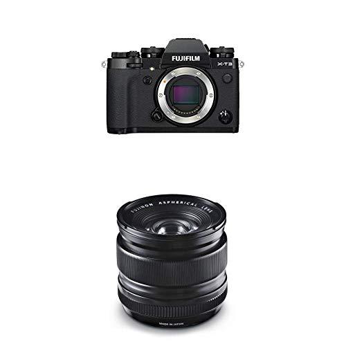 Fujifilm X-T3 - Cámara de objetivo intercambiable sin espejo, con sensor APS-C de 26,1 Mpx, video 4K/60p DCI, pantalla táctil, WIFI, Bluetooth, negro, Kit con objetivo X-T3 + XF14mm