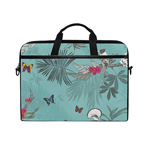 EZIOLY Forest Butterfly Bird Floral Teal Laptop Shoulder Messenger Bag Case Sleeve for 13 Inch to 14 inch Laptop