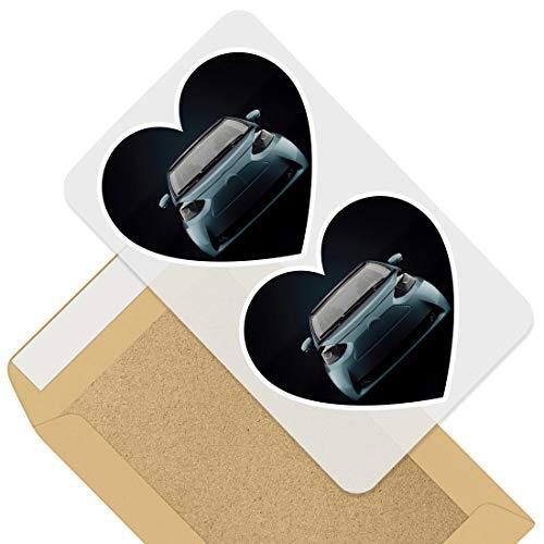 Impresionante 2 pegatinas de corazón de 10 cm – Pequeña ciudad eléctrica respetuosa con el medio ambiente calcomanías divertidas para portátiles, tabletas, equipaje, libros de chatarras, neveras, regalo genial #46314