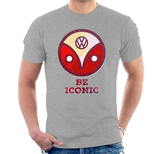 Volkswagen Be Iconic Type 2 Camper Logo Men's T-Shirt Heather Grey