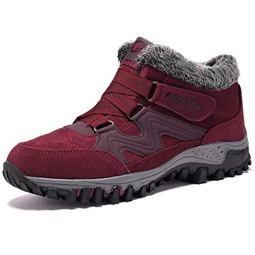 BaiMoJia Botas de Senderismo Nieve Mujer Cálidas Invierno Piel Forro Zapatillas de Senderismo Hombre Zapatos Trekking Rojo 41 EU (Etiqueta 42)