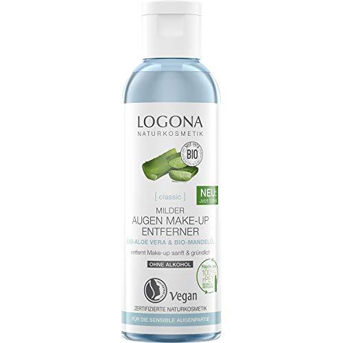 Bio Augen Make-up Entferner von LOGONA Naturkosmetik mit Bio-Aloe Vera und Mandel-Öl, Enfernt wasserfestes Make-up sanft und mild, Natürlich & Vegan, 125 ml