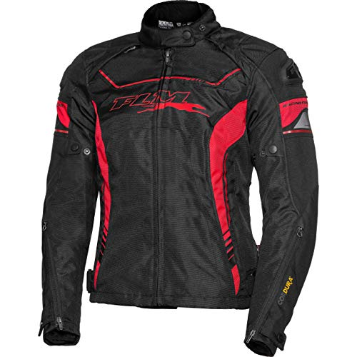 FLM Motorradjacke mit Protektoren Motorrad Jacke Sports Damen Textiljacke 2.1 rot/schwarz M, Sportler, Ganzjährig