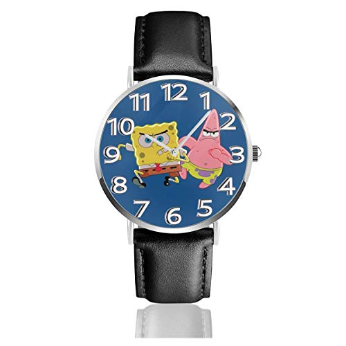Running Spongebob Squarepants Unisex Easy Reader Quartz Analog 38mm Leather Strap Watch