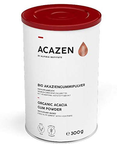 ACAZEN Organic Natural Fibre Supplement – Soluble Fibre for a Good Gut Feeling – 100% Pure Acacia Gum Powder (DE-ÖKO-001 Arabic Gum) – 1 Month Supply– Vegan, Gluten-Free, Low FODMAP