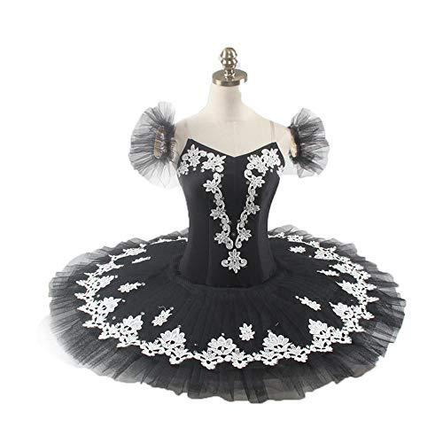 QSEFT Ballet Profesional Tutu Falda Negro Plata Bailarina Rendimiento Tutu Vestido Mujeres Plato Clásico Pancake Tutu Disfraz Adulto/Niño