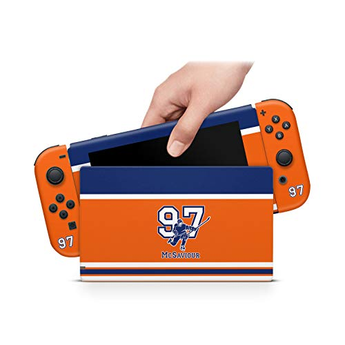 ZOOMHITSKINS Team Skaters Orange Hockey Canada Canadien Navy Blue Goal Cup Ice Skate, High Quality Decal Sticker Wrap, Nintendo Switch Compatible, Made in the USA