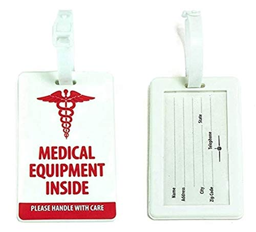 ConnectOne Medical Luggage Tag for CPAP Machine, Medic Alert Tag for Diabetes Supply Bag, Travel Medical Equipment Tag for BIPAP Machine, Respiratory Supplies and Equipment Tags (White/Red)