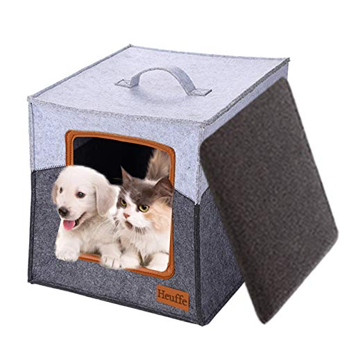 Heuffe Filz Faltbare Katzenhöhle inkl. Kissen, Passend für z.B. IKEA® Kallax & Expedit Regal,Kuschelhöhle in grau