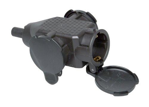 Kopp 183305006 3-fach Schutzkontakt-Kunststoffkupplung, schwarz