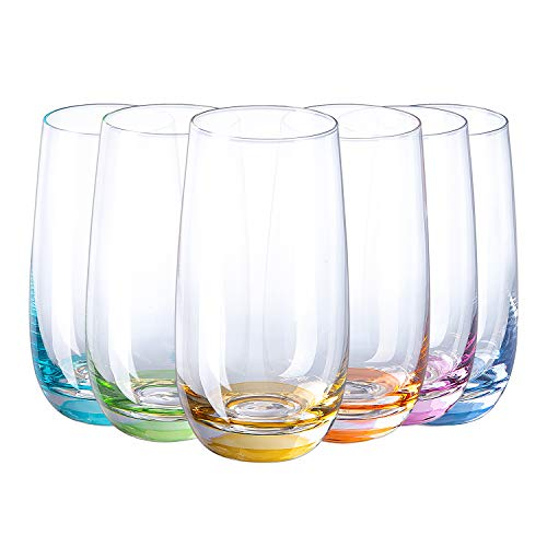 drinking glass for wine beers SUNNOW Vastto 17 Ounce Multicolor Highball Drinking Glass,for Water, Beverage,Juice, Wine,Beer, and Cocktail,Set of 6 (Six Bright Colors)