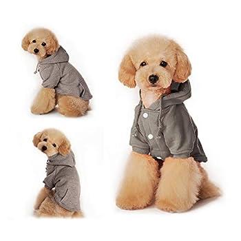 Eastlion Sweat à Capuche pour Chien Chat Chaud Manteau d'hiver pour Chiens Doux Pull Vêtements en Coton pour Animaux Petit Moyenne Chien Chiot Chihuahua Poodle Teddy (Gris,XS)