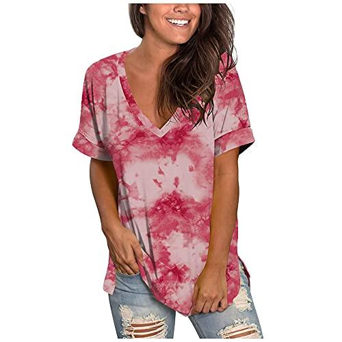 N\P Camisetas para mujer Verano Verano Mujer Degradado Color V-Cuello Manga Corta