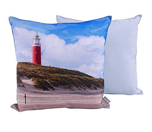 CB Home & Style Outdoor Garten Kissen Wasserabweisend 45 x 45 cm Strand (Leuchtturm)