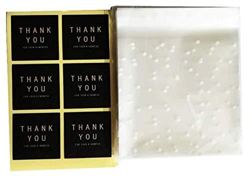 ユーエム ギフトバッグ シールセット (袋100枚 シール102枚) opp袋 自粘着バッグ お菓子 キャンディー ラッピング トリートバッグ 透明食品収納袋 密閉袋 クッキー 宝石 食品包装 DIY 収納 手作り プレゼント デコレーション