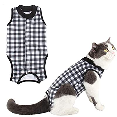 Due Felice Cat Professional Surgical Recovery Suit for Abdominal Wounds Skin Diseases, After Surgery Wear, E-Collar Alternative for Cats Dogs, Home Indoor Pets Clothing Black Plaid/M