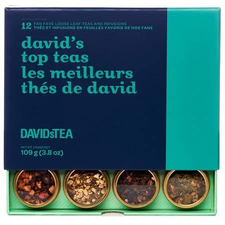 DAVIDsTEA David's Top Teas Sampler, Loose Leaf Tea Gift Set, Assortment of 12 Fan Favourite Teas, 109 g / 3.8 oz