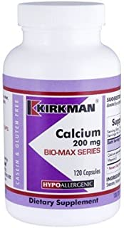 Kirkman's purest Calcium 200 mg - Bio-Max Series - Hypoallergenic 120 vegetarian capsules   Gluten and casein free   Tested for more than 950 environmental contaminants