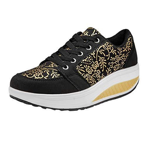 JURTEE Sneaker Damen, Art Und Weise Beiläufige Schnüren Sich Oben Breathable Sport Laufende Plattform Turnschuh Schuhe Sportschuhe(39 EU,Schwarz)
