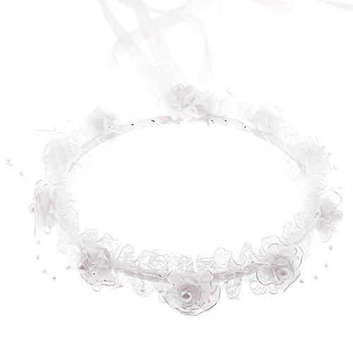 Vococal Coroncina Fiori, Artificiale Pizzo Floreale Perla Nastro Capelli Ghirlanda Corone Capelli per Ragazze White