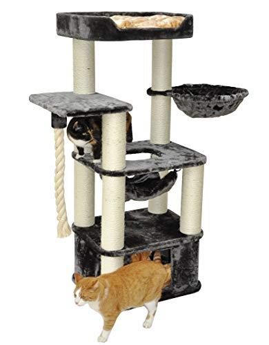nanook Kratzbaum … für große Katzen – standfest – 600 gr Plüschstoff - mit Vollholz Katzenhöhle – XL Liegemulde - viele Kratzstämme- grau/beige – 147 x 60 x 50 cm