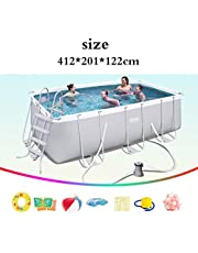 Stand swimming pool home adult and children swimming pool outdoor fish pond large paddling pool large swimming pool (Color : White, Size : 412 * 201 * 122cm)