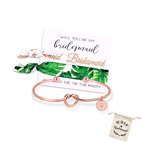 MOOKOO Personalised Bridesmaid Bracelet Gift Will You Be My Bridesmaid Proposal Gift Adjustment Bachelorette Bangle (Rose Gold, W)