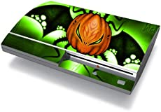 Bundle Monster Vinyl Skins Accessory For Sony Playstation PS3 Game Console - Cover Faceplate Protector Sticker Art Decal - Pumpkin Bat