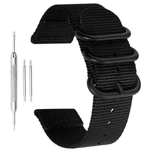 22 mm de la NATO Correas de Reloj de Estilo de perlón de Nylon Negro Hombres exquisitos Correas de reemplazo