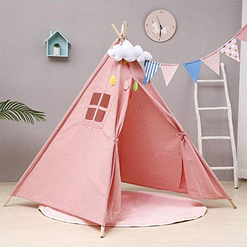 WANGIRL Teepee Children Tent Home Decor Supplies Cotton Cloth Wooden Bars Intellectual Development Indian Tent Small Castle (Color : Red - XXL)