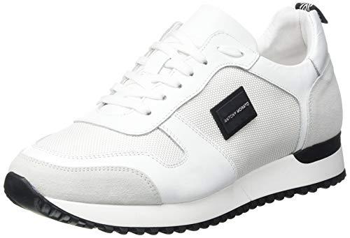 Antony Morato Sneaker Run Metal IN Nylon E Pelle, Oxford Plano Hombre, Color Blanco, 44 EU
