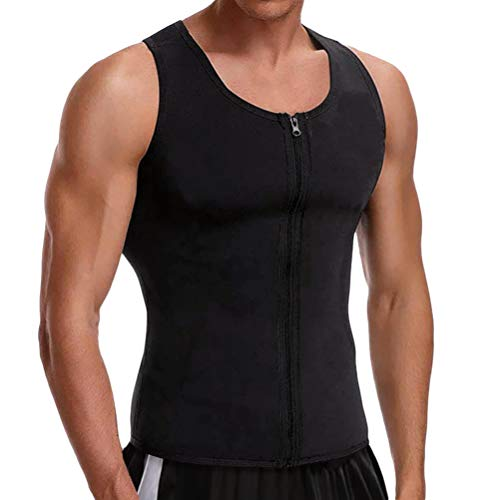 Cimkiz Hot Sweat Vest Neoprene Sauna Vest for Weight Loss Tummy Fat Burner Slimming Shapewear Hot Thermo Body Shaper Sweat Tank Top Black with Zip L