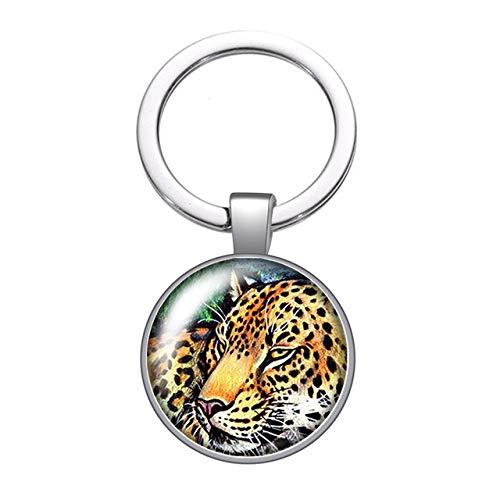 Animali Leone Tigre Leopardo Faccia Bestia Vetro Cabochon Portachiavi Auto Portachiavi Porta...